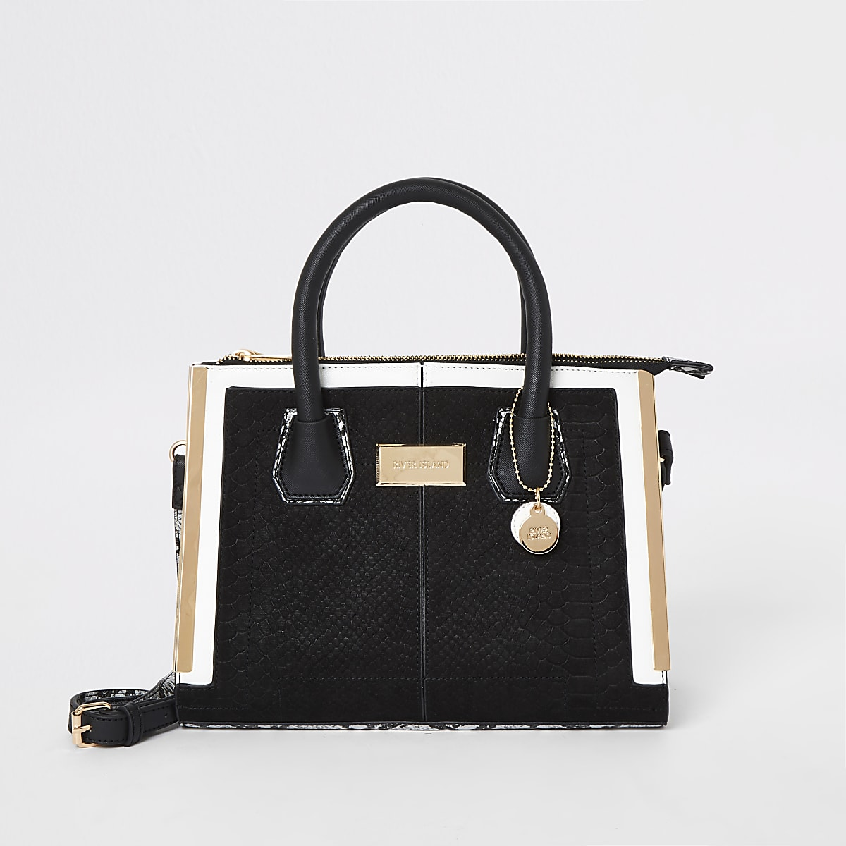 Black gold tone edge tote bag