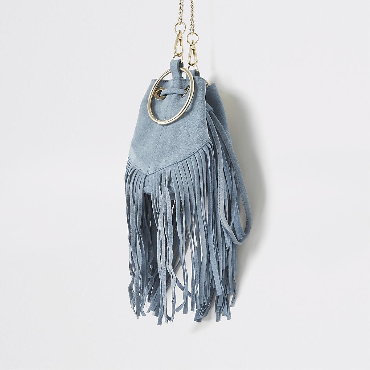 Light blue small suede fringe bucket bag