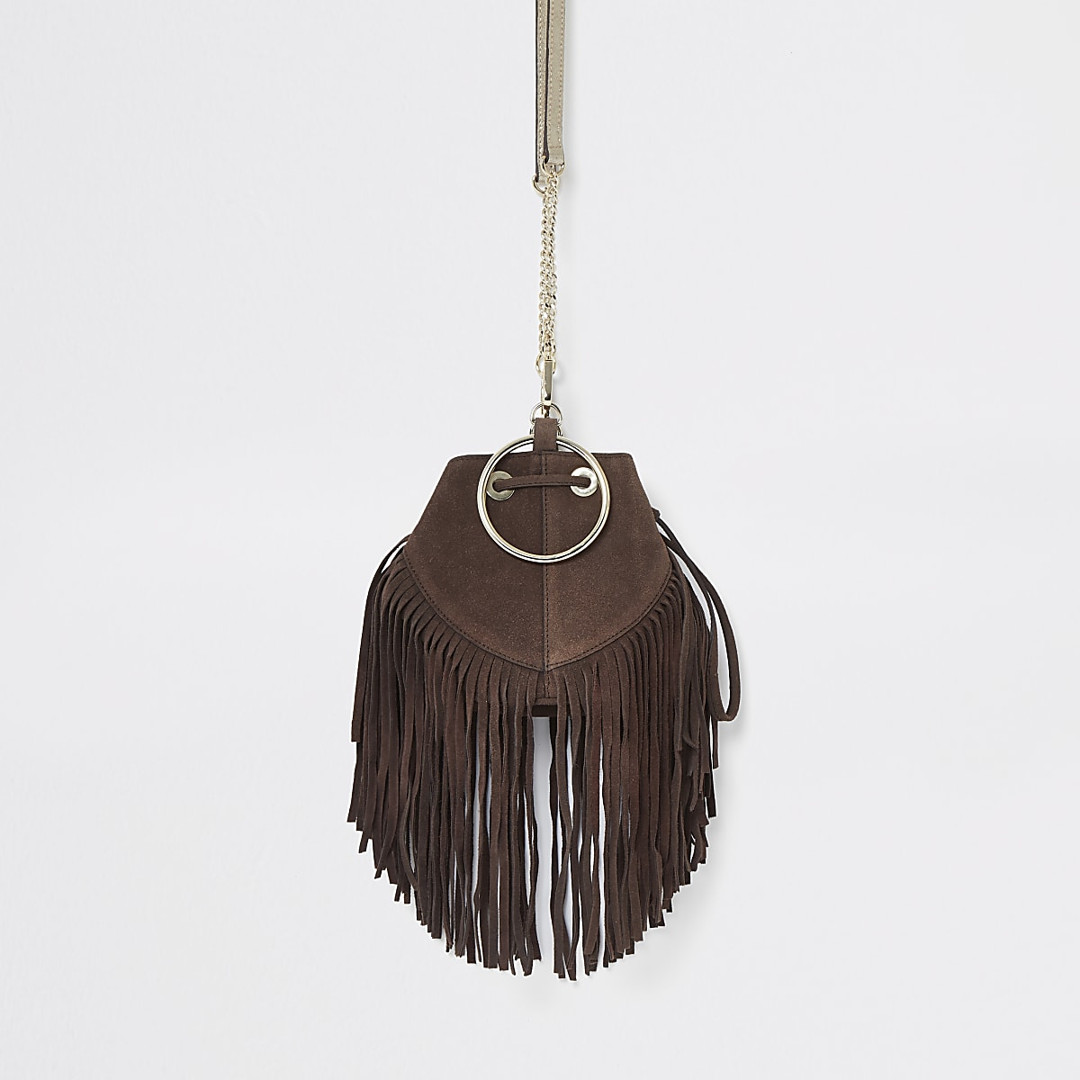 Brown leather small fringe bucket bag