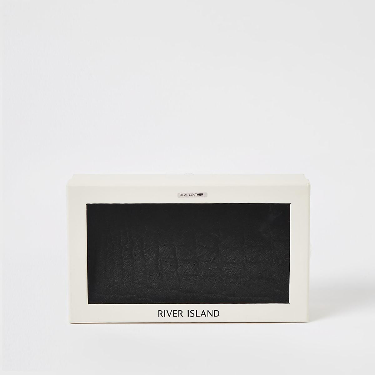 Portefeuille en cuir noir effet croco dans boîte cadeau