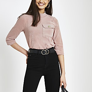 Pink cord chest pocket T-shirt