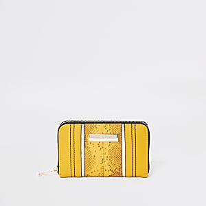 Mini porte-monnaie jaune grain serpent zippé