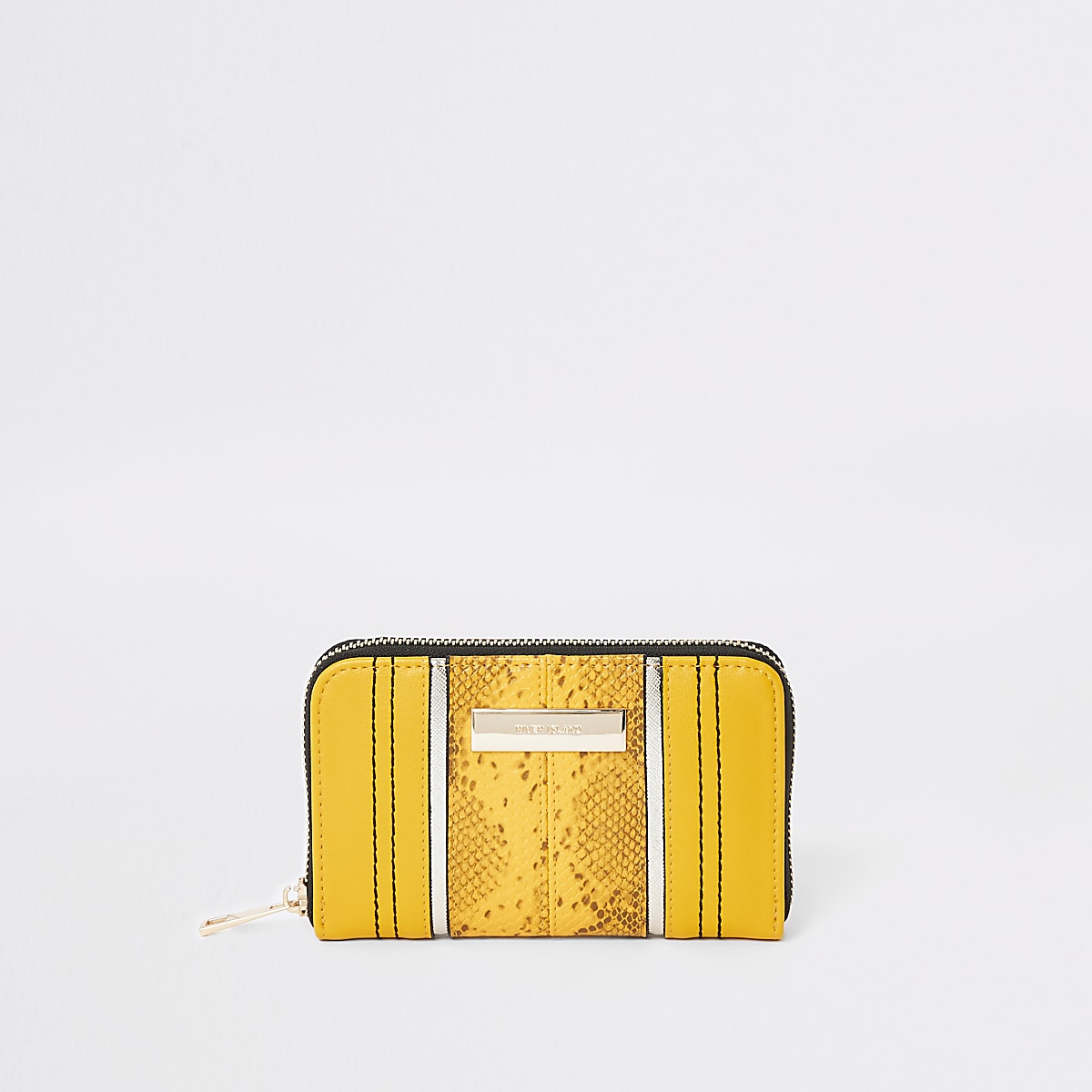 Yellow snake zip around mini purse