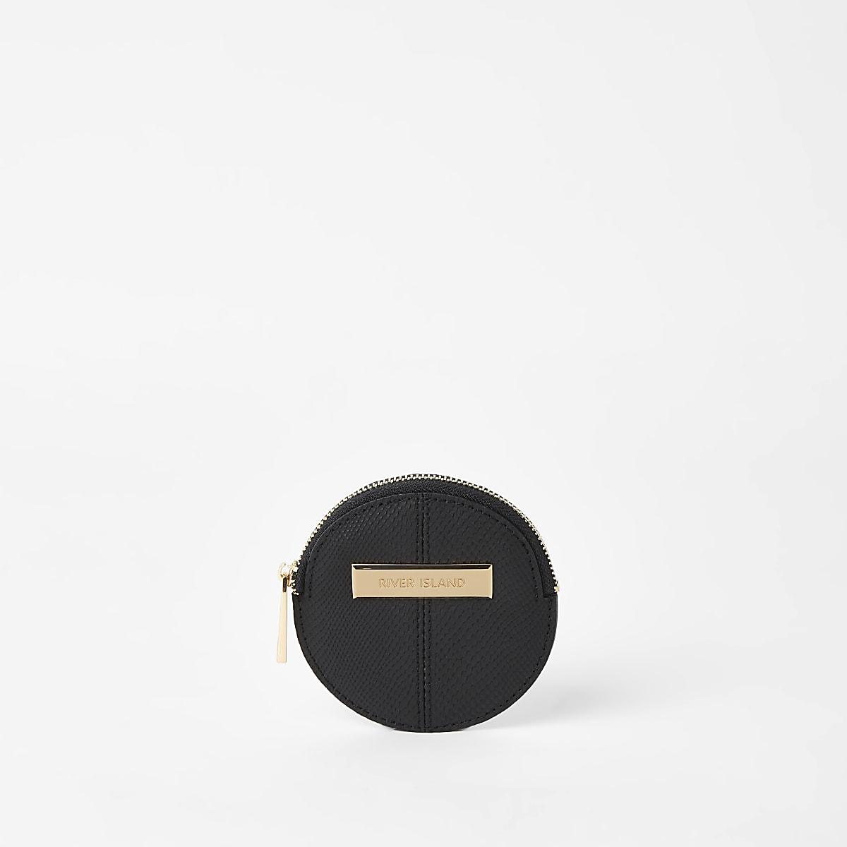 Black circle coin pouch purse