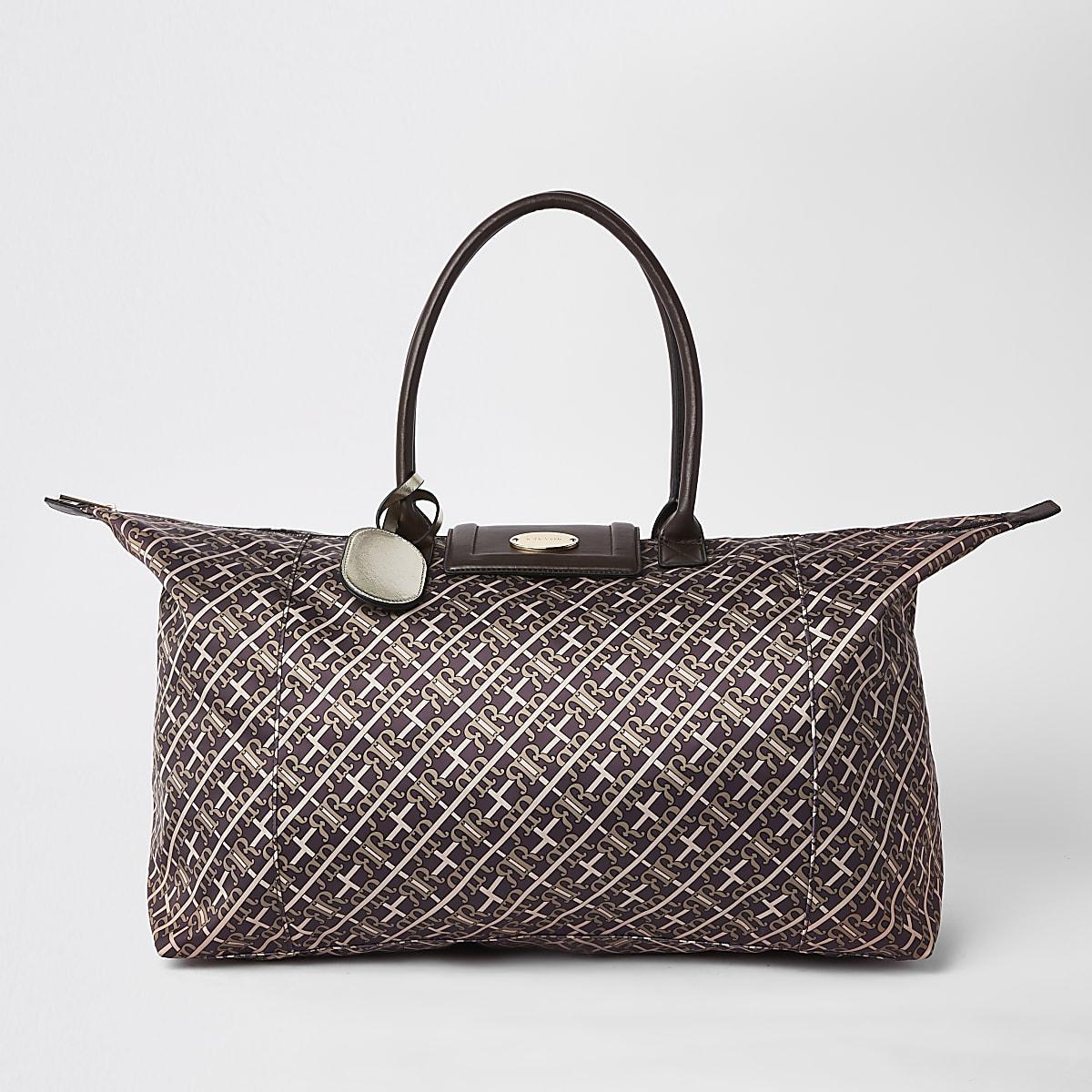 Brown RI monogram travel bag