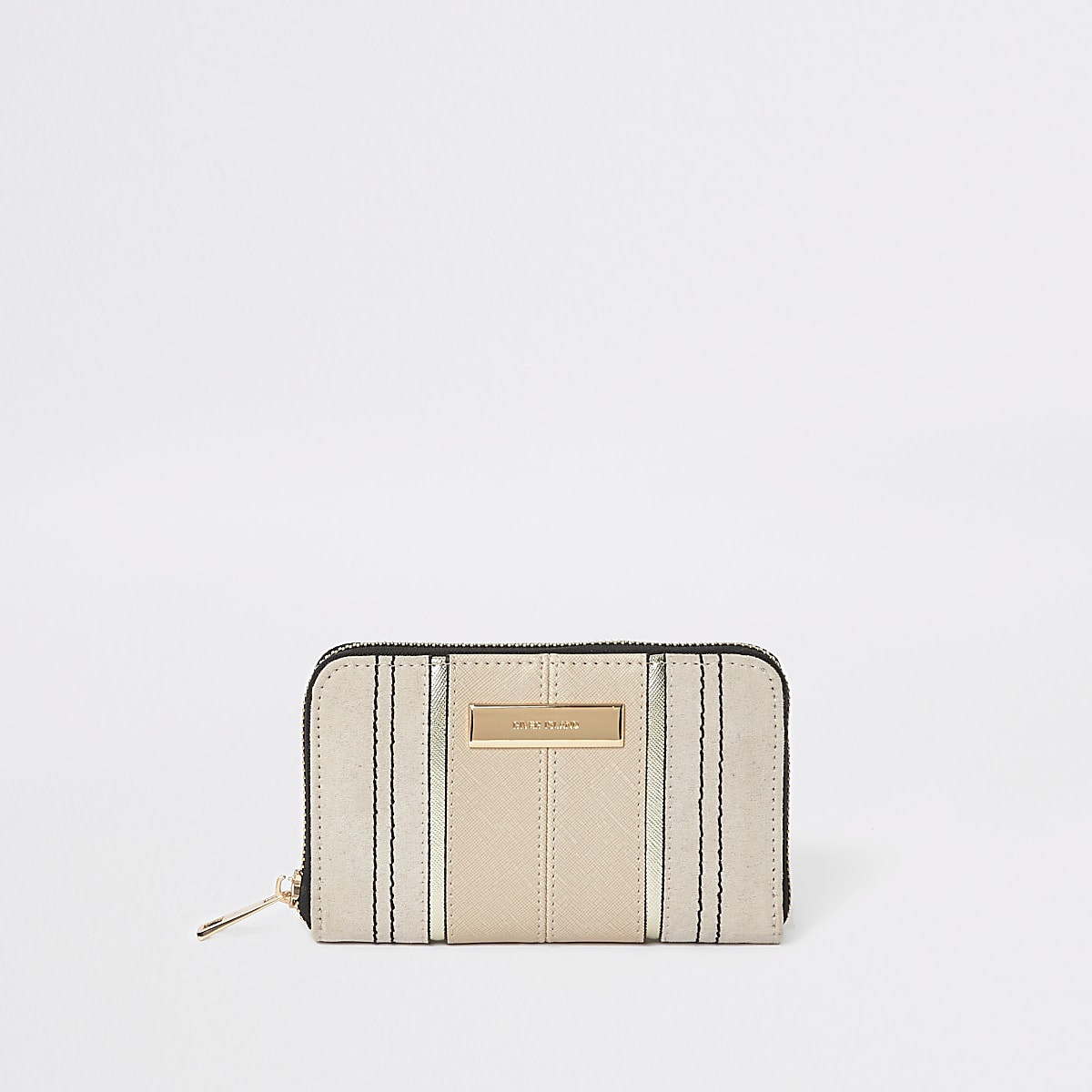 Beige zip around mini purse