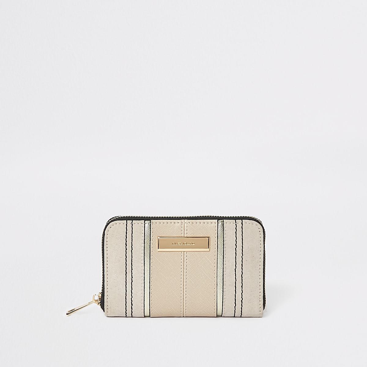 Mini porte-monnaie beige zippé