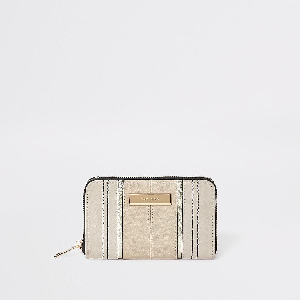 Beige zip around mini purse