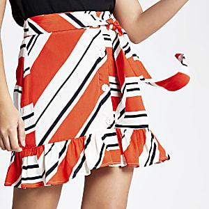 Red stripe print tie waist mini skirt