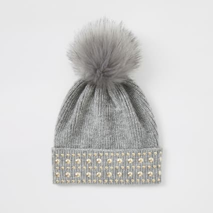 Grey faux fur pom pom studded beanie