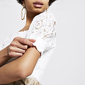 White lace puff sleeve top