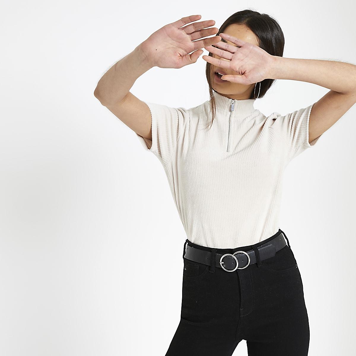 T-shirt en velours côtelé crème à col montant zippé