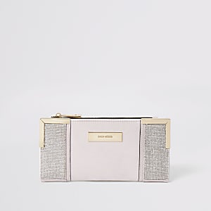 Pink diamante fold out purse
