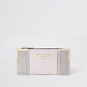 Roze uitvouwbare portemonnee met diamantjes
