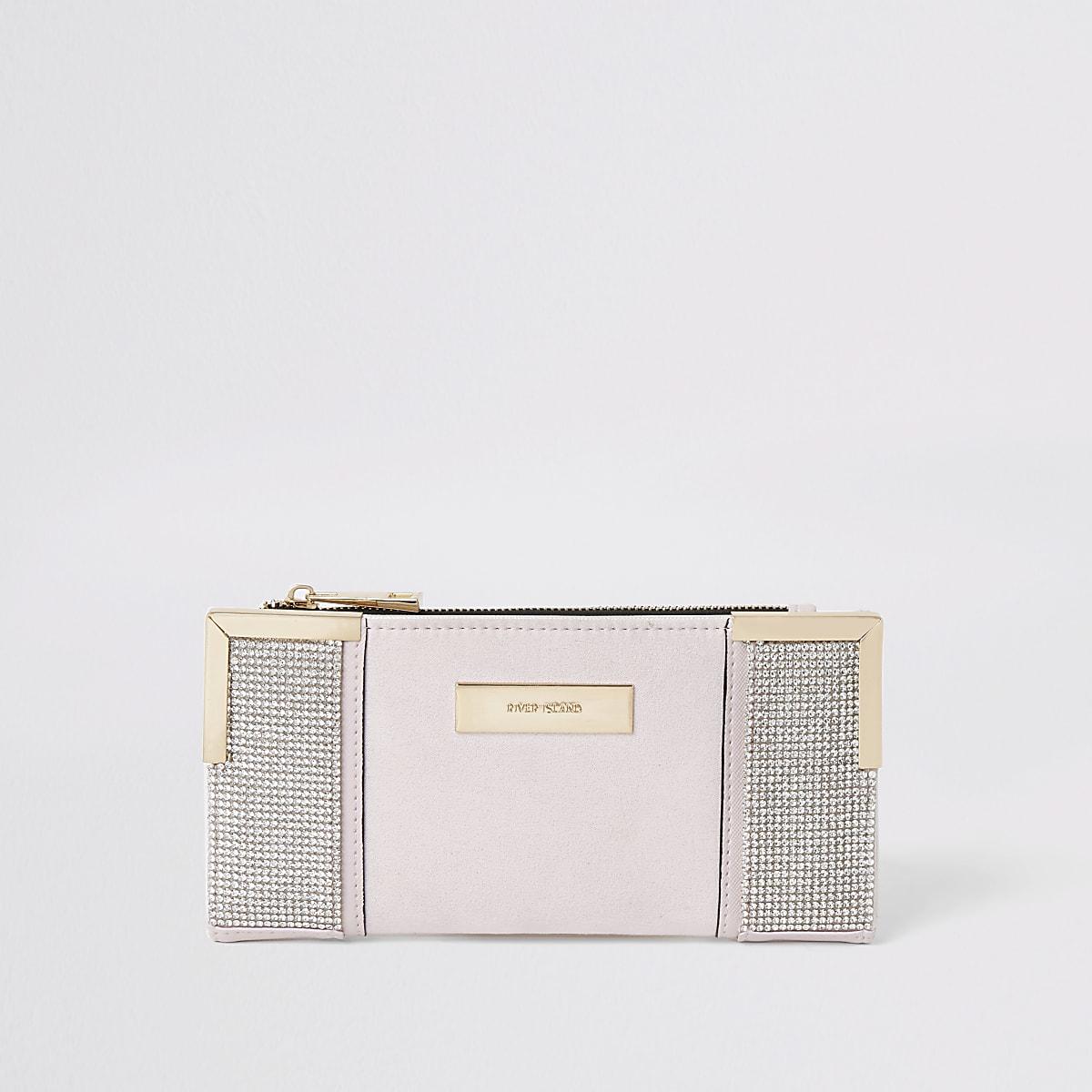 Pink rhinestone fold out purse