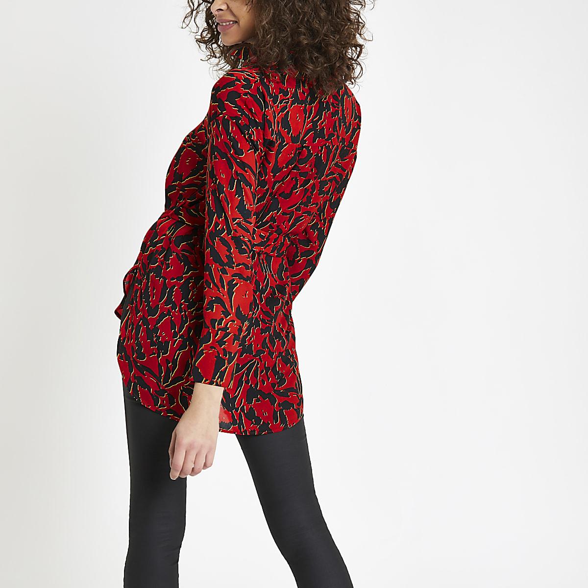 7c6eb55558386f Red print tie waist shirt - Shirts - Tops - women
