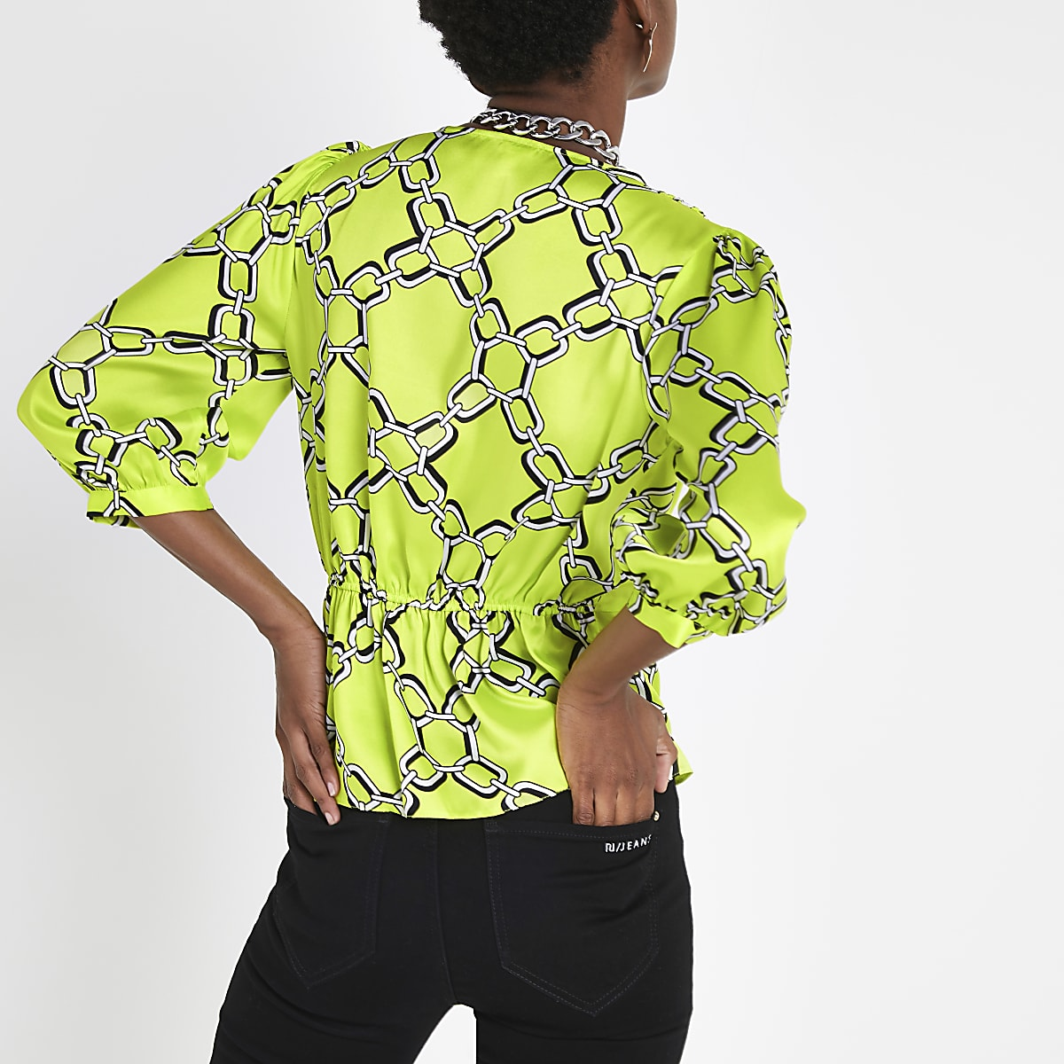 ad7c2bd06603e1 Green chain print double breasted blouse - Blouses - Tops - women