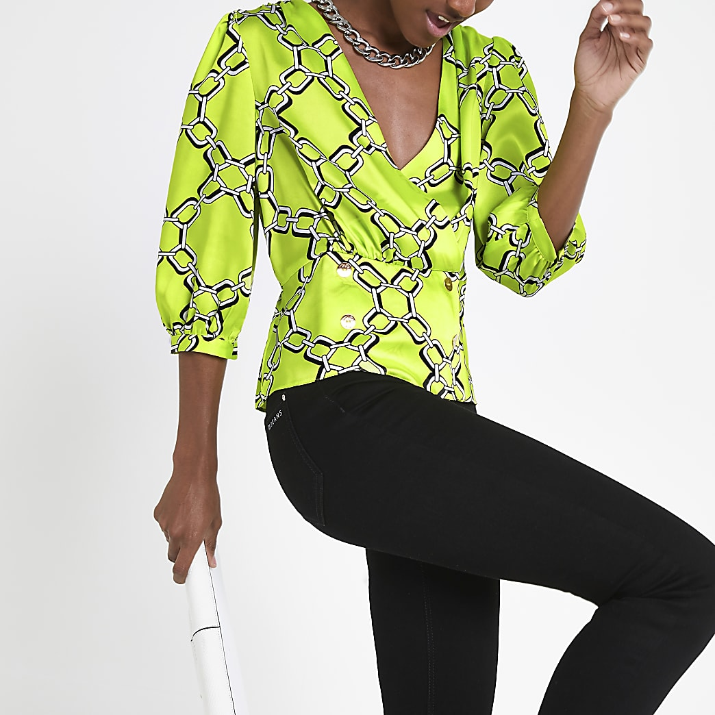 Green chain print double breasted blouse