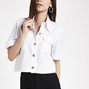 Weißes Utility Kurzarmhemd