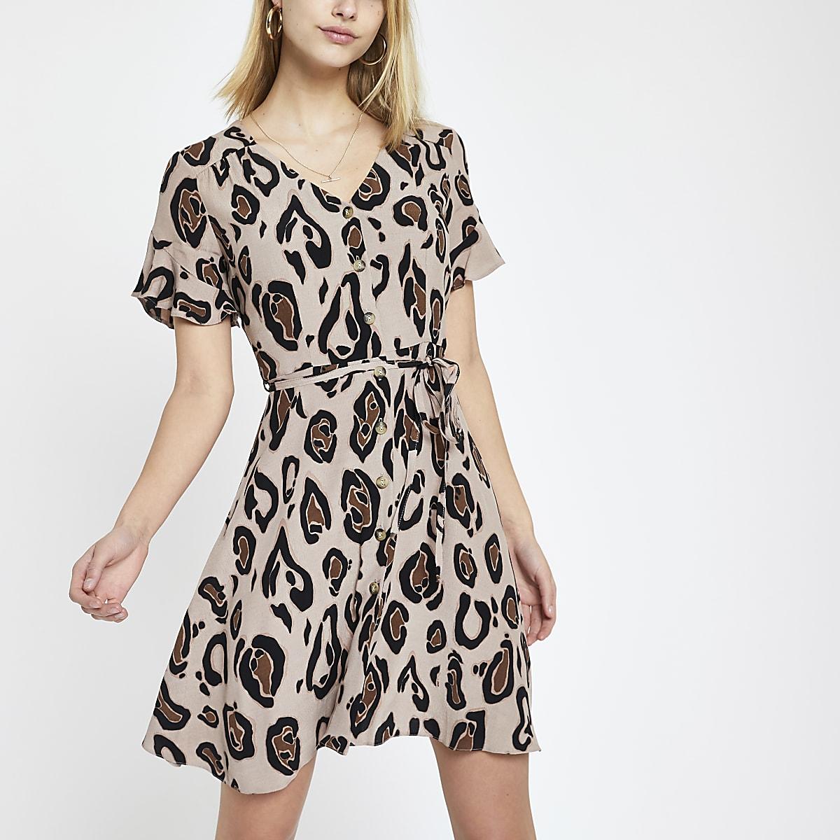 Brown leopard print tea dress