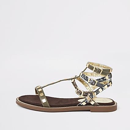 Khaki stud gladiator sandals