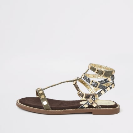 Khaki stud gladiator sandals