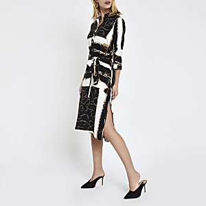 Black chain print tie waist shirt dress