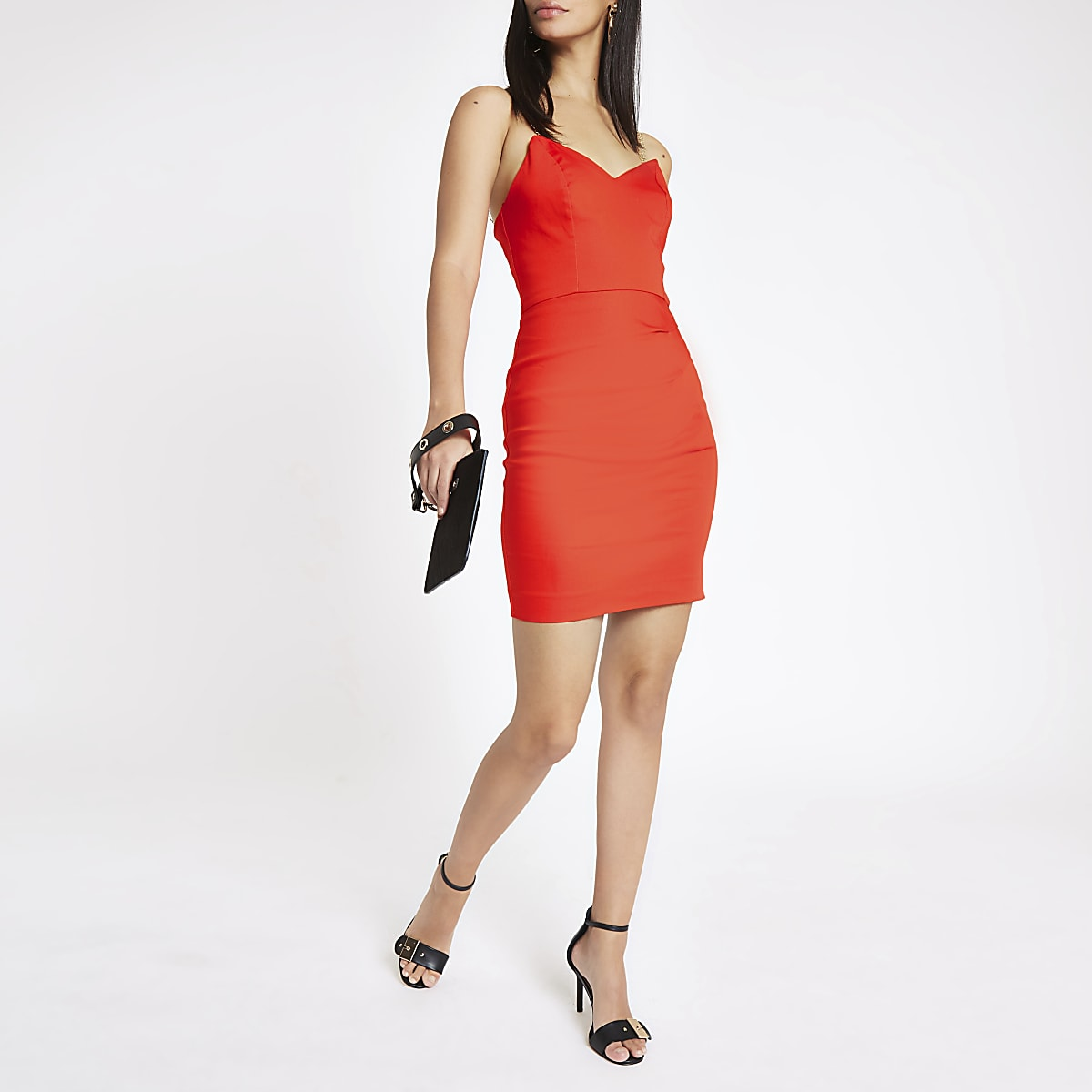 Red chain strap bodycon dress