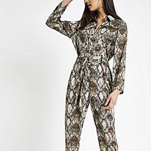 Bruine jumpsuit met slangenprint