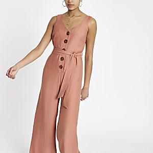 Pink tie waist wide leg jumpsuit