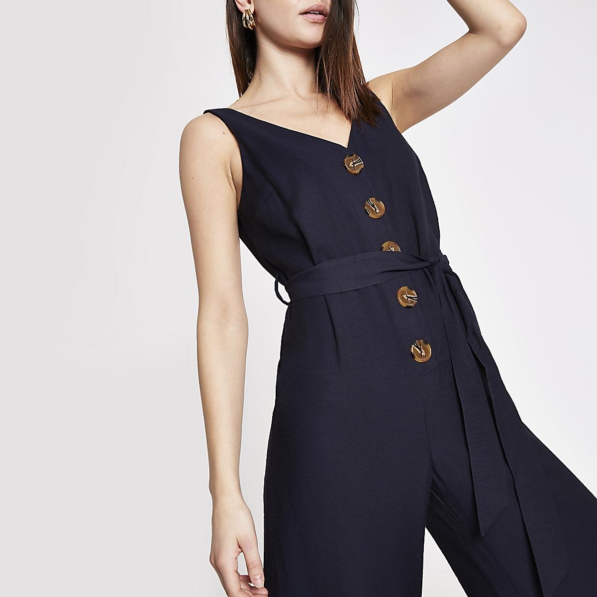 Navy button front tie waist jumpsuit
