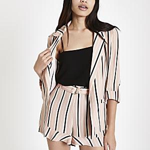 Pink stripe print rolled sleeve blazer