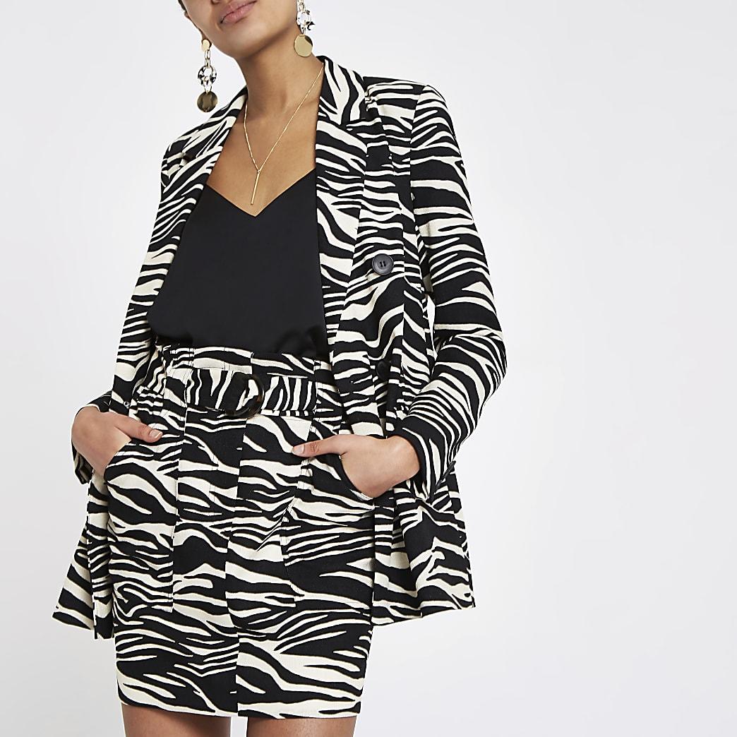 Black zebra print blazer