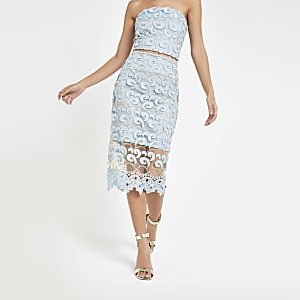 Blue lace pencil skirt