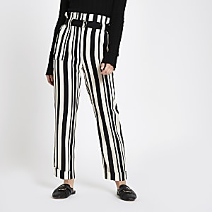Petite black stripe peg leg trousers