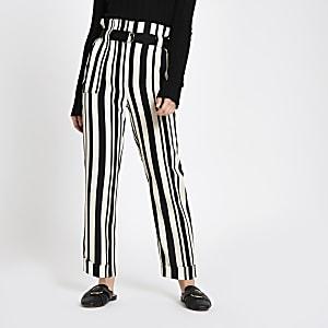 Petite black stripe peg leg pants