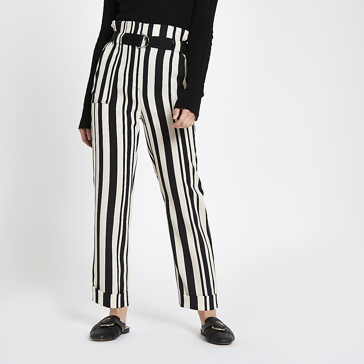 Petite black stripe peg leg trousers