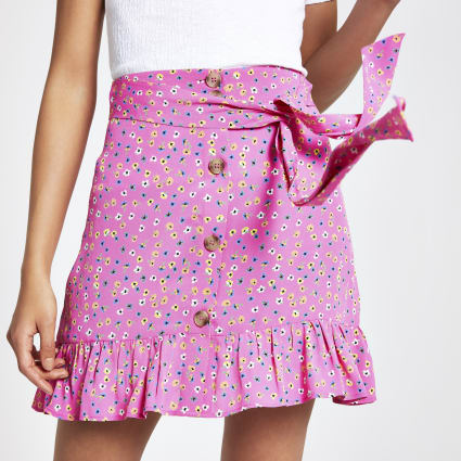 Pink ditsy floral button front mini skirt
