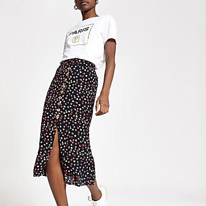 Black floral button front midi skirt