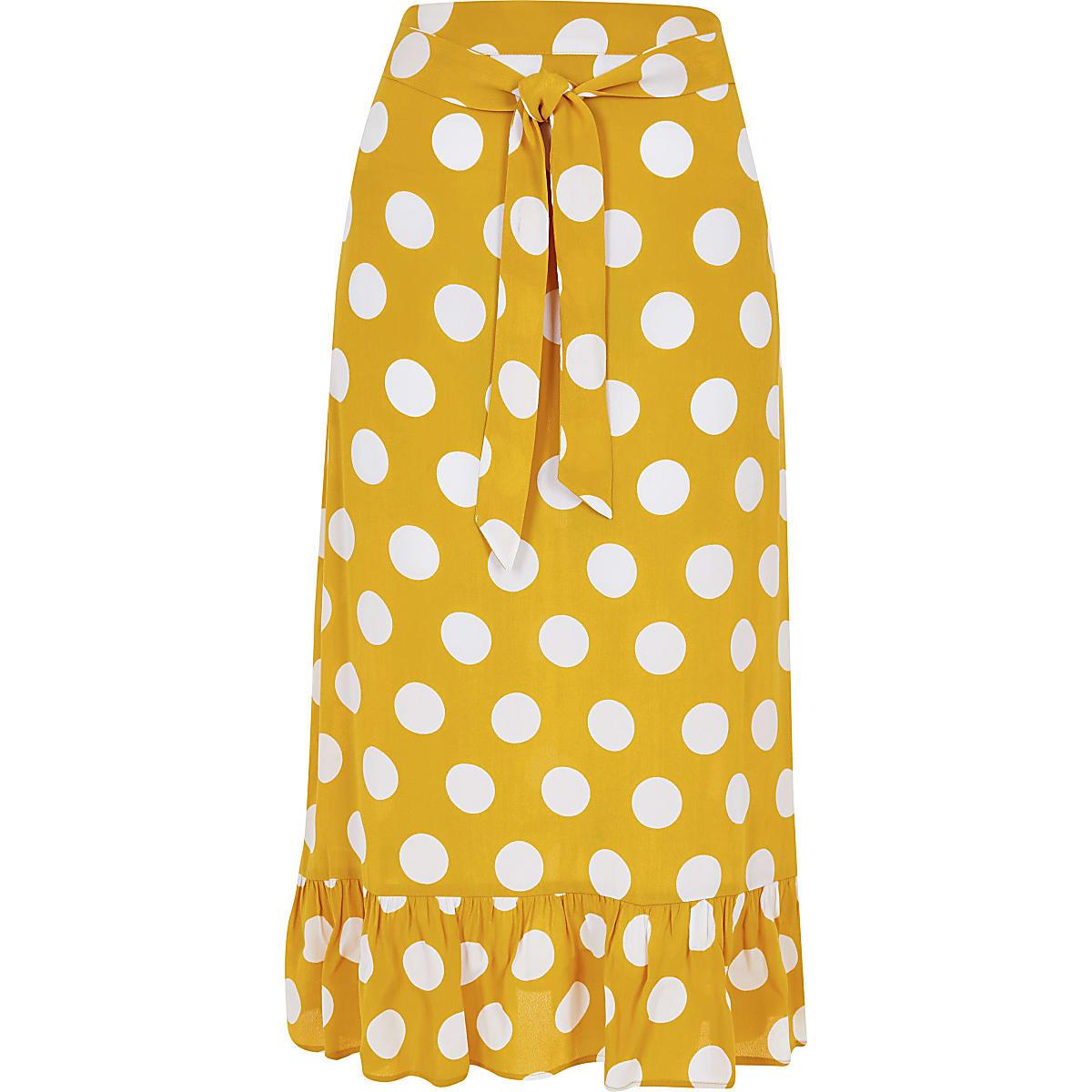 759f049ad22bdd Gele midirok met stippen en ruches aan de zoom - Midirokken - Rokken ...