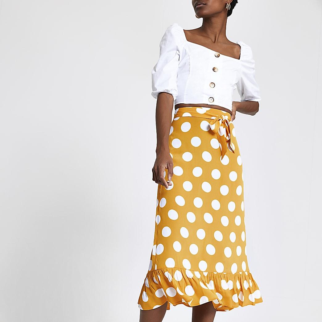 Yellow spot frill hem midi skirt