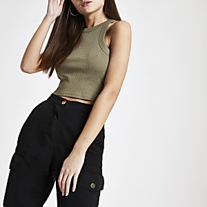 Khaki fitted crop tank