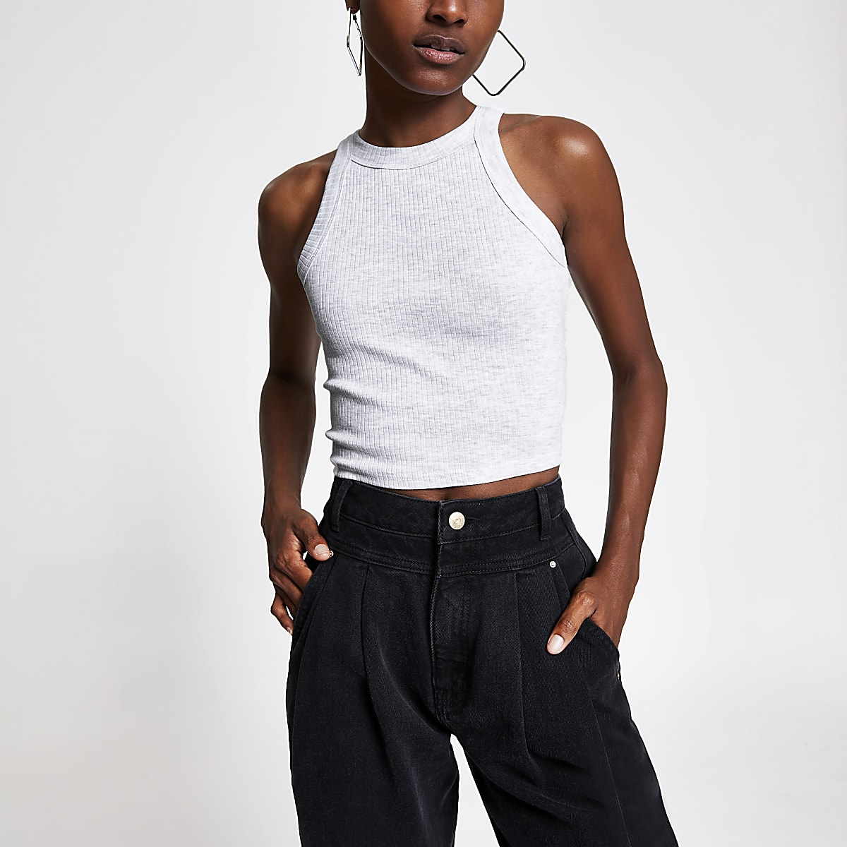 7a1269c4e41 Grey marl racer crop top - Crop Tops / Bralets - Tops - women