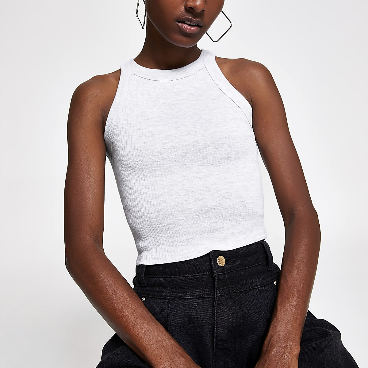 Grey marl racer crop top