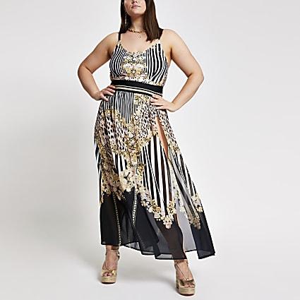 Plus black mixed print beach skirt