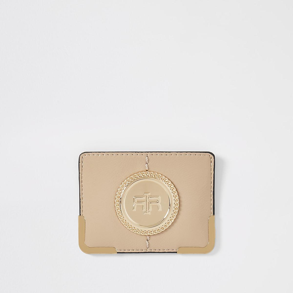 Porte-cartes beige à logo RI