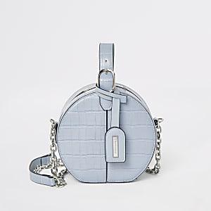 Blauwe vanity crossbodybag met krokodillenprint