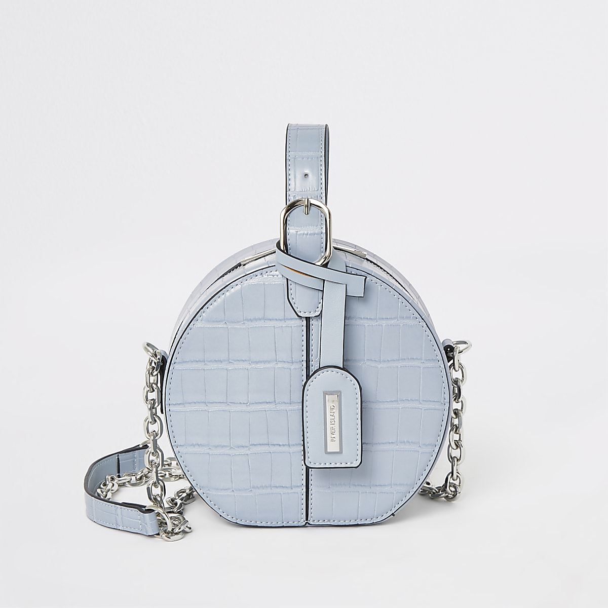 Blue croc vanity cross body bag