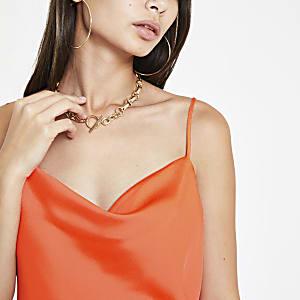 Bright orange cowl neck cami top