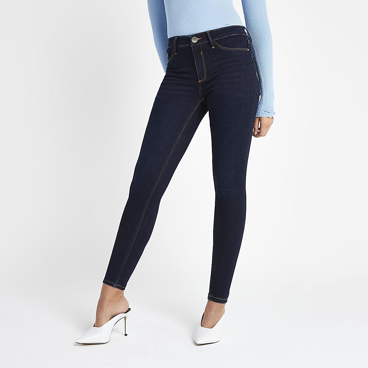 3c10fb41aa1f6 Dark blue Molly mid rise jeggings - Jeggings - Jeans - women